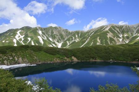 Mikurigaike pond and Tateyama mountain range with snow in summer in Toyama, Japan Standard-Bild - 110107100