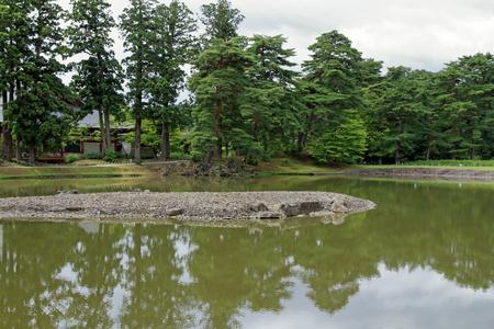 Oizumi ga ike pond of Motsu temple in Hiraizumi, Iwate, Japan