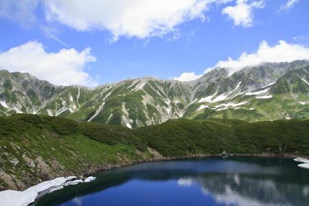 Mikurigaike pond and Tateyama mountain range with snow in summer in Toyama, Japan Standard-Bild - 110106838