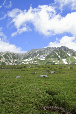 Tateyama mountain range with snow in summer in Toyama, Japan