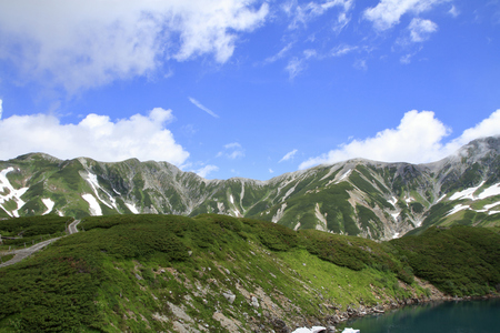 Tateyama mountain range with snow in summer in Toyama, Japan Standard-Bild - 112240822