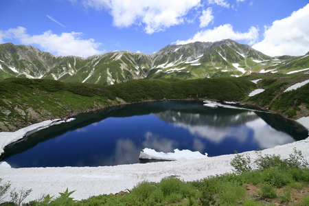 Mikurigaike pond and Tateyama mountain range with snow in summer in Toyama, Japan