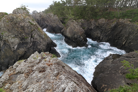 Kaminariiwa rock and Ranboya gorge in Goishi coast, Ofunato, Iwate, Japan