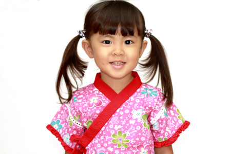 Japanese girl in Yukata, Japanese traditional night clothes (3 years old) (white back)