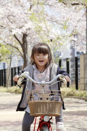 Japanese girl riding on the bicycle under cherry blossoms (4 years old) 写真素材