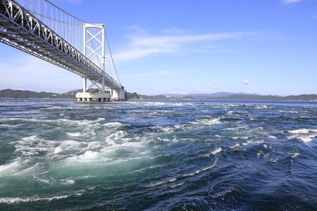 Naruto whirlpools and Onaruto bridge in Tokushima, Japan