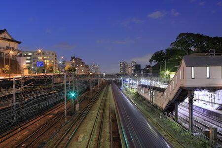 Kanagawa station and railway of Tokaido line (night scene)