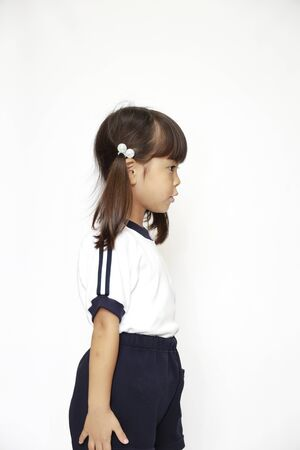 Japanese girl in sportswear (profile) (4 years old) (white back) 免版税图像