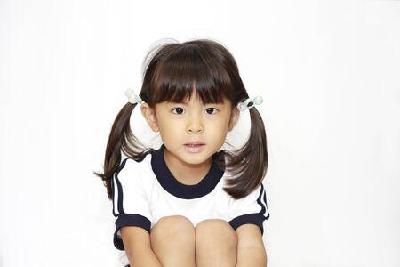 sitting Japanese girl in sportswear (4 years old) (white back)