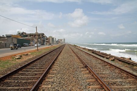 railway track along seaside of Sri Lanka