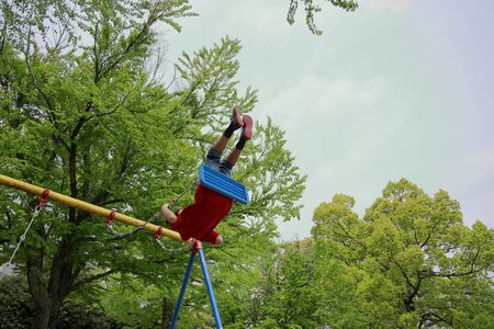 Japanese boy on the swing (appearance from behind) (fifth grade at elementary school) 스톡 콘텐츠