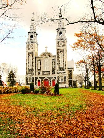 a Quebec church in the fall photo