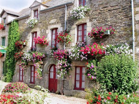 windows and doors: typical french village house
