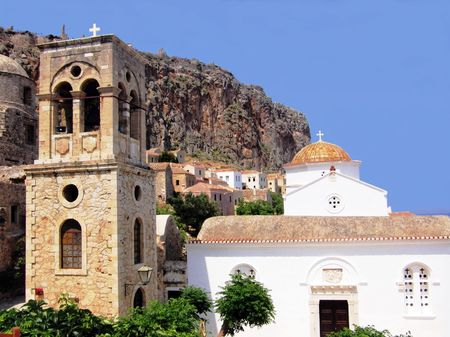 churches in the medieval city of Monemvassia, Greece photo