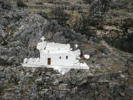 troglodyte: old troglodyte church built in the mountains of the island of Kythera, Greece