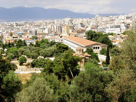 panoramic view of Athens, in Greece. Birthplace of democracy. 版權商用圖片