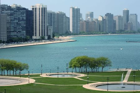 미시간 호의 시카고 아름다운 해안선