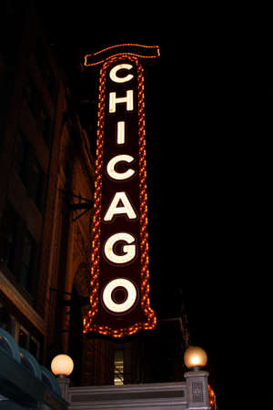 theater sign: Famous Chicago theater sign at night Stock Photo