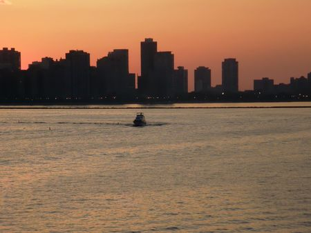 orange sunset over Chicagos coastline photo
