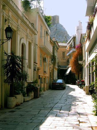 typical: typical little street on a greek island, Europe