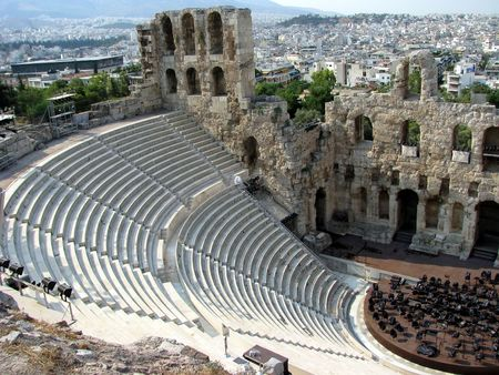 aisles: Greece outdoor theater in Athens: historic building Stock Photo
