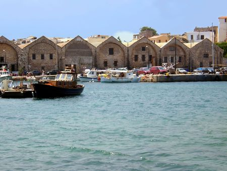 Creta island marina and old houses in summertime