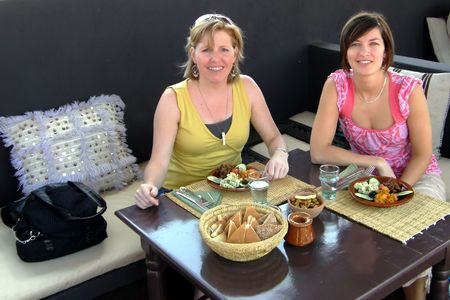 women having lunch at a moroccan restaurant
