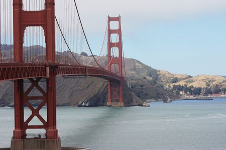 famous Golden Gate bridge in San Francisco bay photo