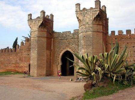 exotism: fortified wall and entrance in Morocco, north Africa Stock Photo