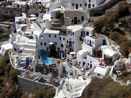view of Oya, on Santorini island in Greece Stock Photo