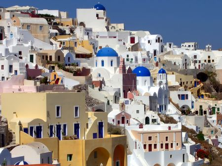 panoramic view of Oya, on Santorinia island , Greece Stock Photo