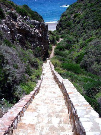 exotism: narrow staircase leading to beautiful beach