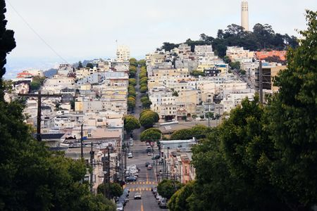 Lombard street in San Francisco california photo