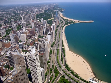 panoramic view of Chicago city buildings   by the lake Stock Photo - 5757944