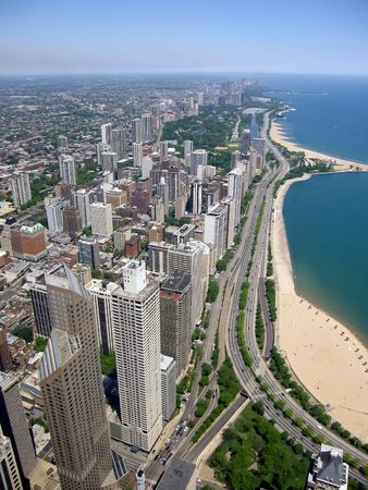 panoramic view of Chicago city buildings   by the lake