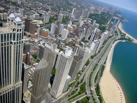 panoramic view of Chicago city buildings   by the lake photo