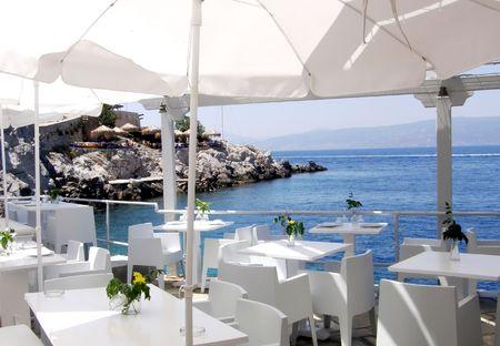 이국적인 열대 위치에있는 레스토랑 테라스 스톡 콘텐츠 - 6065369