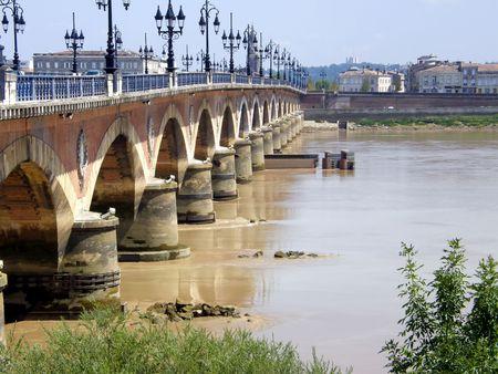 famous historical Bordeaux bridge in France photo