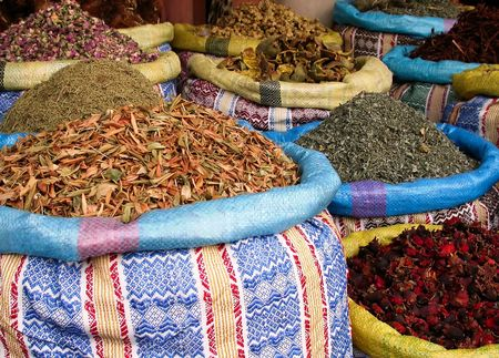 colorful potpourri of flower seeds and herbs photo