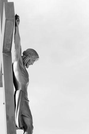 Crucifixion de Jésus-Christ en noir et blanc. Banque d'images - 6567441