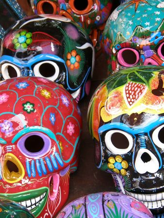 colorful artistic painted skulls