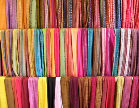 industry: colorful scarves on display Stock Photo