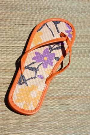 beach mat: tong sandal on beach mat