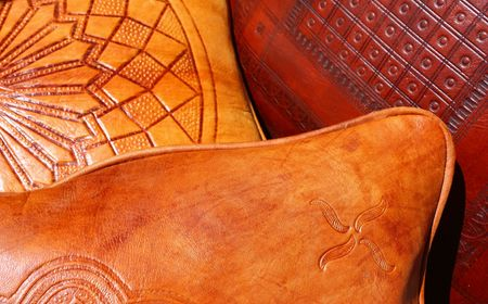 leather pillows closeup