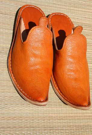 masculin: leather mule shoes Stock Photo