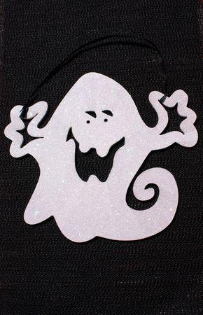 shiny black: Halloween white shiny ghost on black background