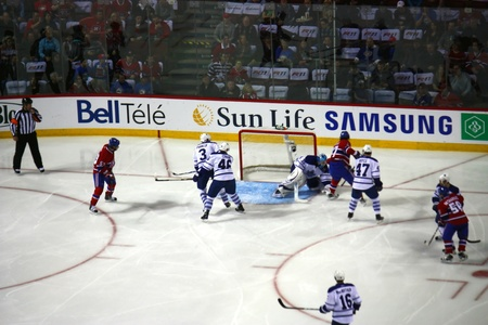 MONTREAL, CANADA- FEBRUARY 12, 2011: The Montreal Canadian hockey team plays against the Toronto Maple Leafs on February 12 2011 at the Bell Center in Montreal, Canada