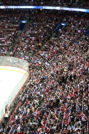 MONTREAL, CANADA- FEBRUARY 12, 2011: Hockey game fans on February 12 , 2011 at the Bell Center arena in Montreal, Canada