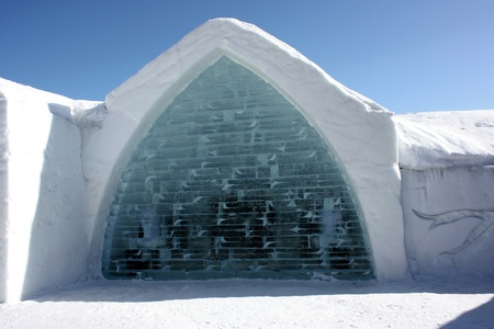 Quebec, Canada-February 20, 2011: Famous ice hotel exterior building  in Quebec city, Canada