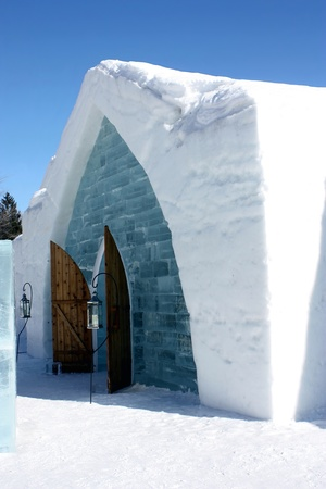 igloo: Quebec, Canada-February 20, 2011: Entrance of the famous ice hotel in Quebec, Canada